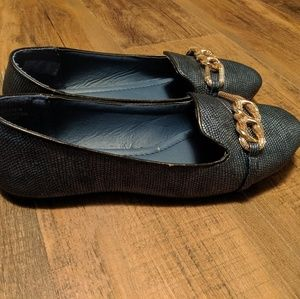 Rasolli Blue Animal Skin Print w/ Gold Chain Flats